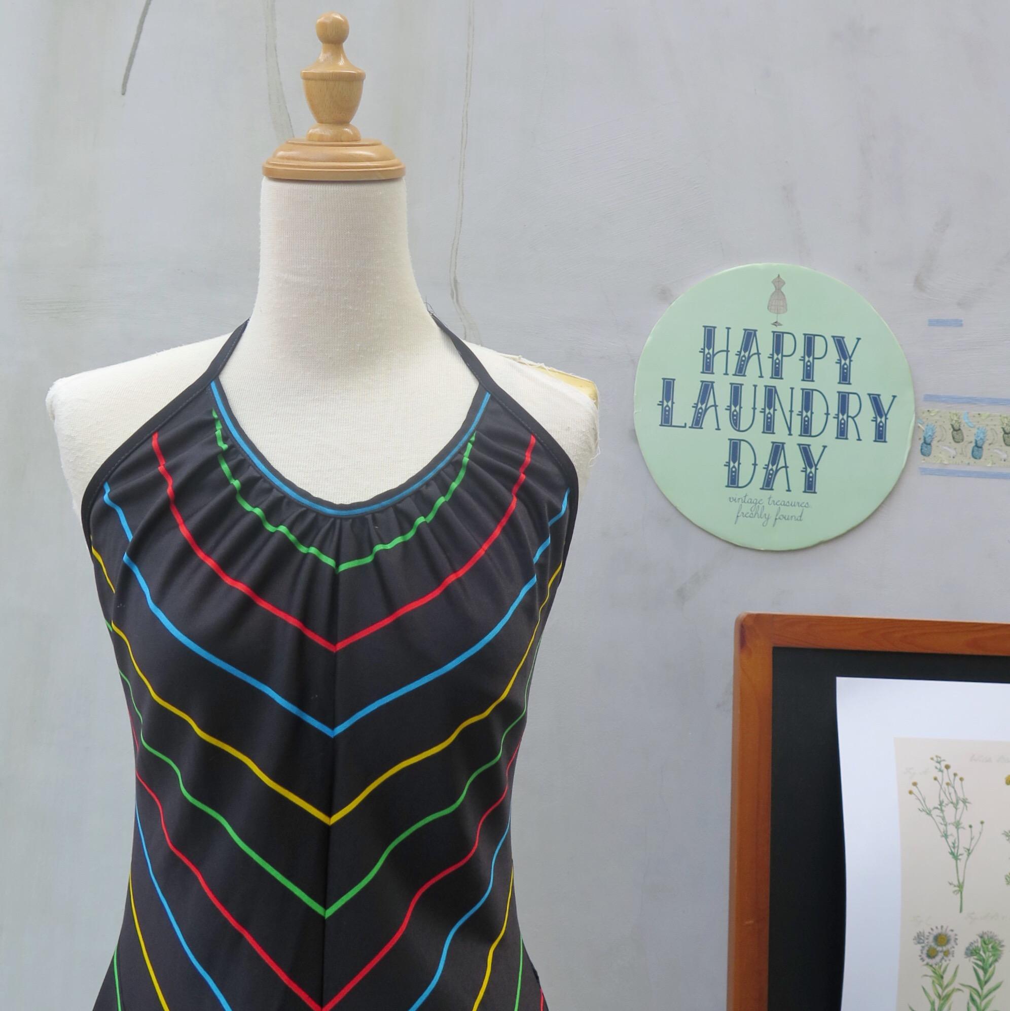 c846f8c3ef94 Pot of gold | Vintage 1960s 1970s Disco era Chevron rainbow stripes Swing  Dress