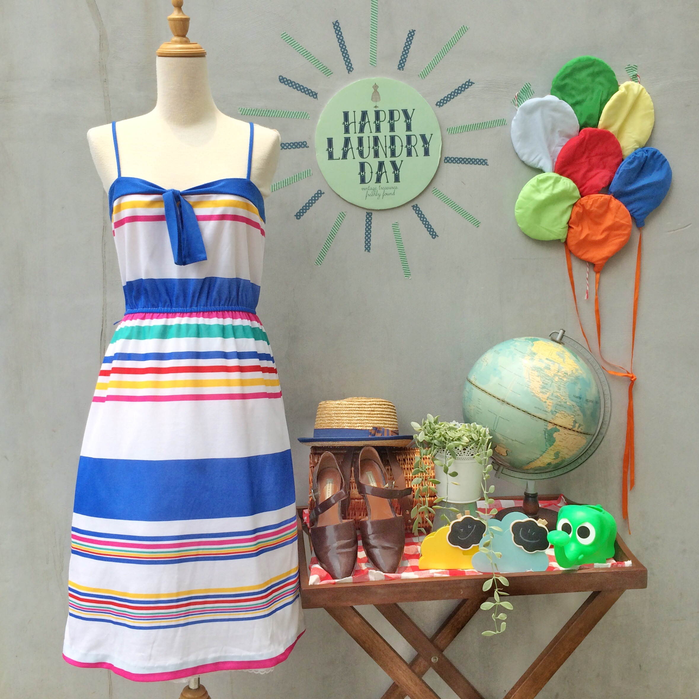 b70ab1a41f3 ... 1970s Colorful rainbow stripes Nautical inspired Sundress. This is such  a fun