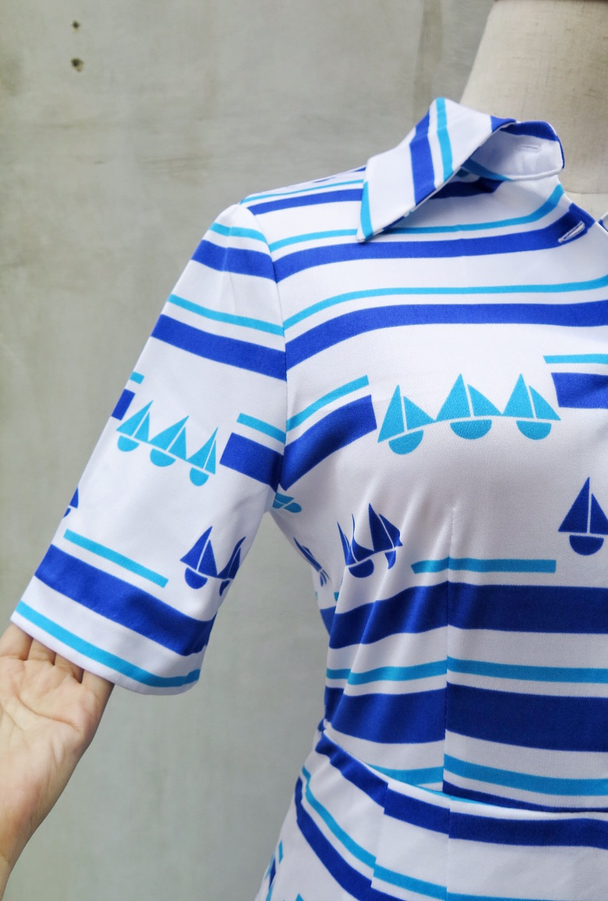 blue is u2026 vintage 1960s 1970s nautical sailboat print blue and